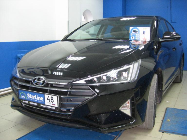 Hyundai Elantra 2019 установка StarLine S66