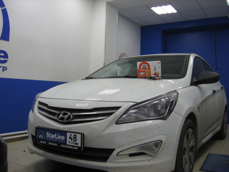 Hyundai Solaris 2015 установка StarLine E93