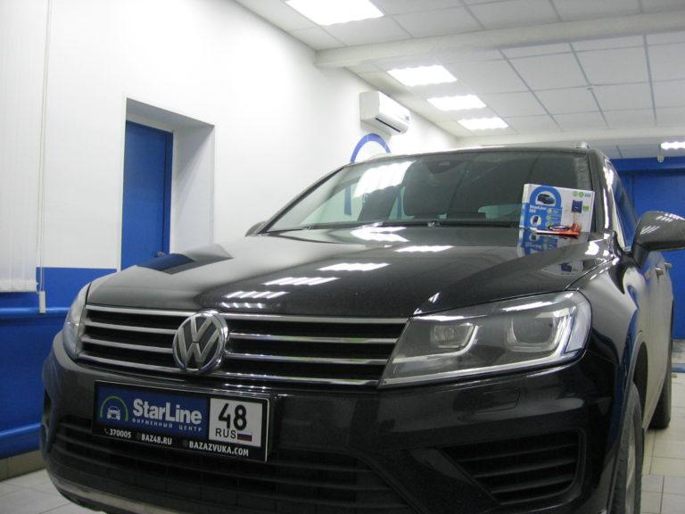 Volkswagen Touareg 2017 установка StarLine S66 + блокировкой штатного радиоканала.